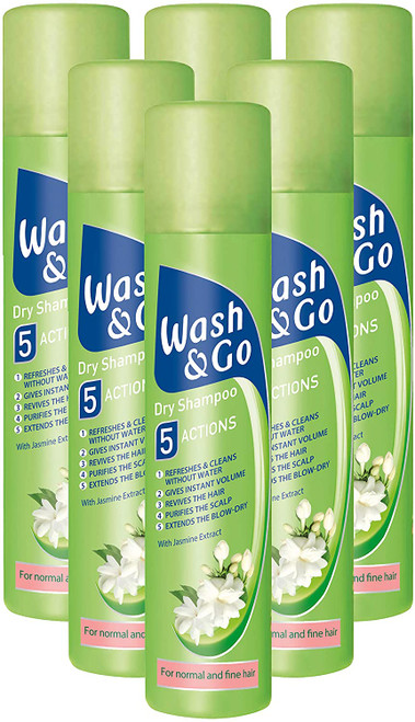 Wash and Go Refresh Dry Shampoo with Jasmin for Normal Hair - Pack of 6