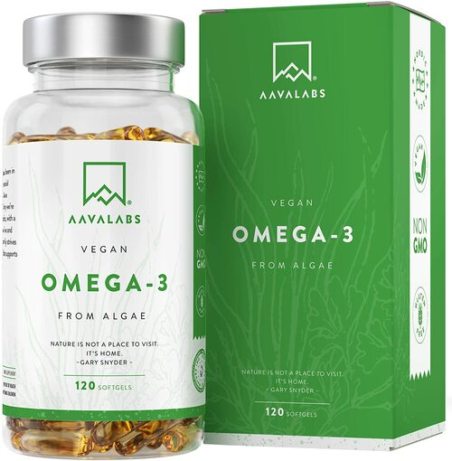 AAVALABS Algae Oil Vegan Omega 3 with Vitamin E - 120 Softgels