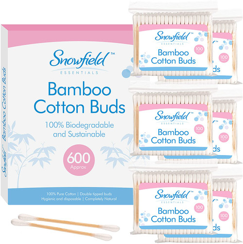 Snowfield Bamboo Eco Double Tipped Cotton Buds - Pack of 6