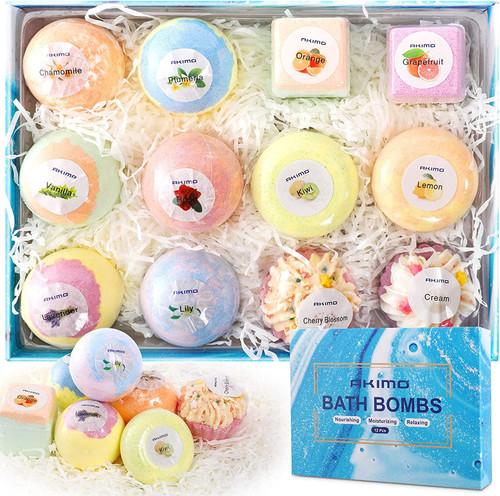 AKIMO Natural Handmade Bubble Bath Bombs Gift Set-12PCS