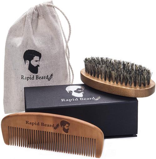 Handmade Wooden Comb Boar Bristle Beard Brush Set