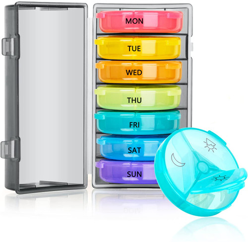 Moisture-proof 7 Day 3 Times a Day Rainbow Compartment Pill Box