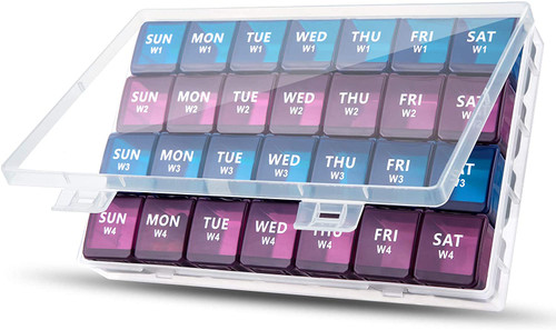 Mossime Large Monthly 28 Day Pill Organiser with Dust- Proof Box