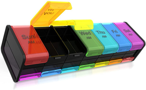 Tighed Lock Extra Large Weekly 2 Times a Day Pill Box - Rainbow-Black