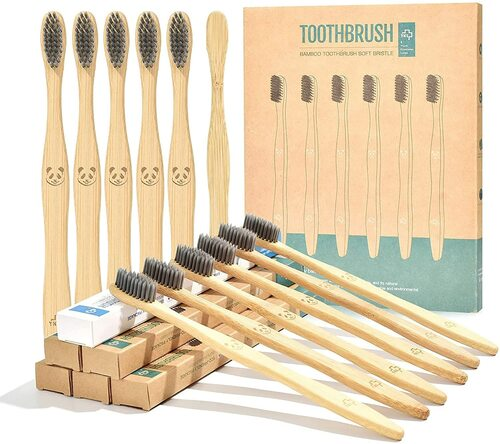 Eco-Friendly Charcoal Natural Bamboo Soft Bristle Toothbrush - 12 Pcs