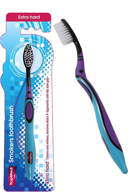 Top Med ets Smokers Extra Hard Anti Slip Grip Toothbrush