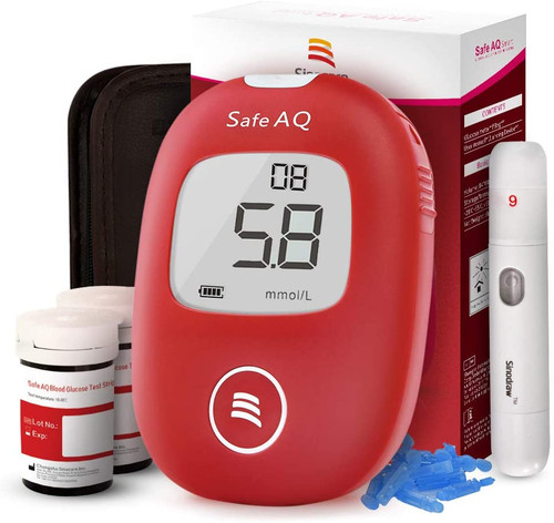 Sinocare Safe AQ Accurate and painless blood Sugar Tester Kit - 50 Strips-50Lancets