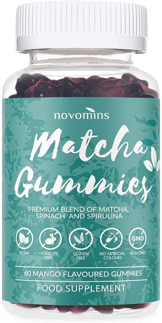 Novomins Matcha Green Tea Mango Flavour Gummies - 60 Gummies