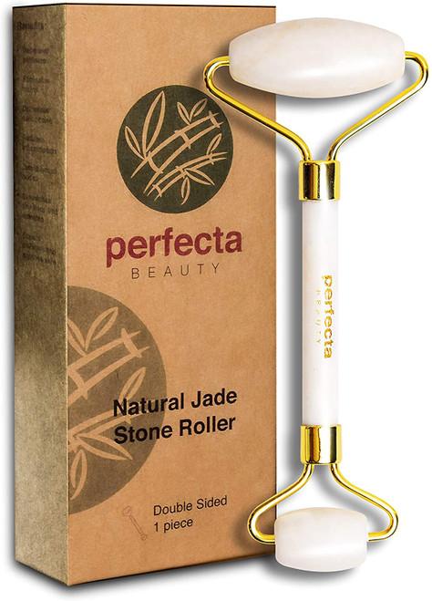 Perfecta Double Head Design Skincare Jade Roller Face Massager - White
