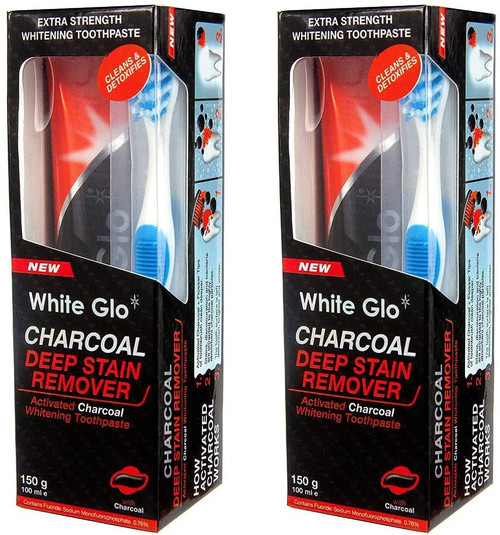 White Glo Whitening Charcoal Deep Stain Remover Toothpaste -Pack of 2