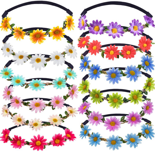 Multicolor Stylish Elastic Ribbon Girl Flower Crown -12 Pieces