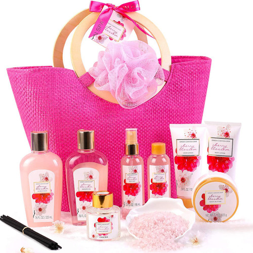 Green Canyon Cherry Blossom Bath Accessories Set in Pink Tote Bag - 11 Pcs