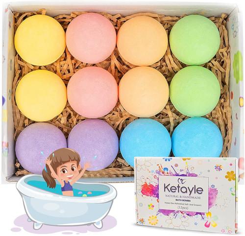 Ketayle Nourishing and moisturizing Dry Skin Bath Bombs for Kids - 12 Pack