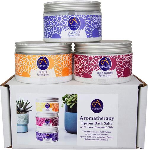 Absolute Aromas Relaxing Epsom Bath Salts Bundle Jars Set - Pack of 3