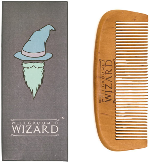 Well Groomed Wizard Wooden Beard and Hair Comb