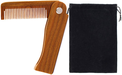 ESTART Sandalwood Beard Comb Pocket Wooden Folding
