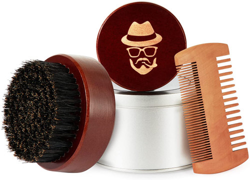 Boar Bristle Black Walnut Wood Beard Comb Brush