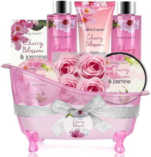 BODY and EARTH Cherry Blossom and Jasmine Scent Gift Basket-8pcs