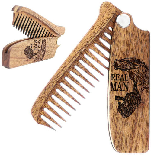Beard Comb Wooden Folding Covered With Oil
