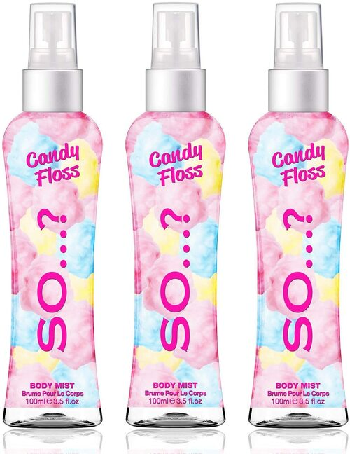 Body Mist By So Womens Candy Floss Body Mist Fragrance Spray-3x100ml