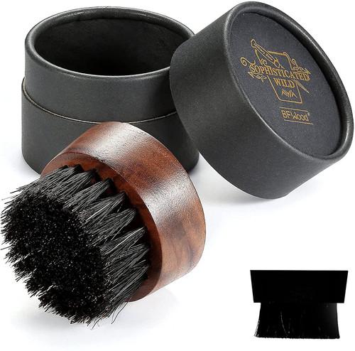 BFWood Beard Brush Boar Bristles Small Round Shape
