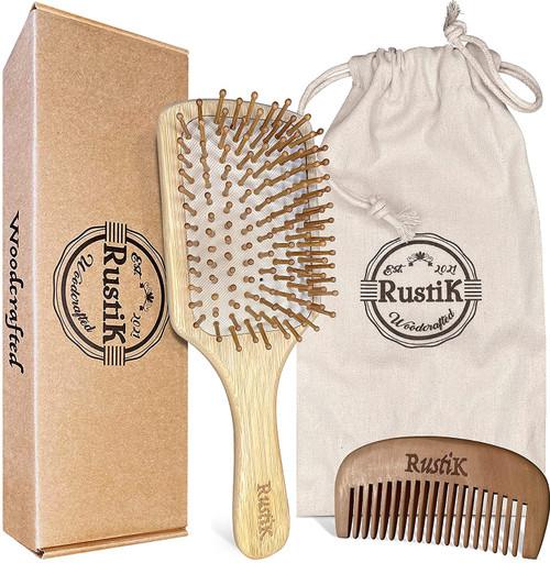 RustiK Bamboo Paddle Hair Brush