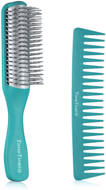 TimeTinkle 9 Row Curly Hair Brush with Wide Tooth Comb