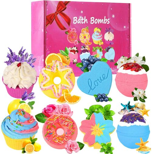 Ainoke Rich Bubbles and Vibrant Colors Large Bath Bombs - 8pcs
