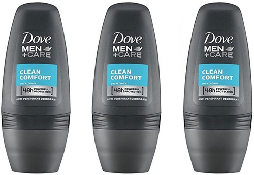 Dove Men Clean Comfort 48h Protection Deodorant Roll-On -Pack Of 3