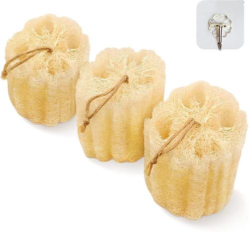 Natural Shower Loofah Sponge Exfoliating Body Scrubber-3pcs