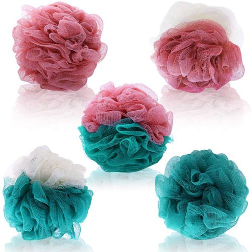 Frcolor Loofah Bath Shower Sponge Pouf-5 Pack