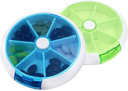 BetterJonny Automatic Round Clear Green Blue 7 Days Pill Box - 2pcs