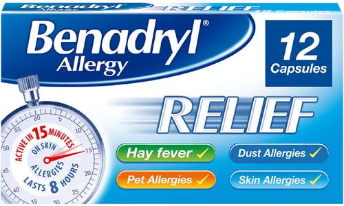 Benadryl Fast-acting Allergy Relief Capsules -12 Capsules