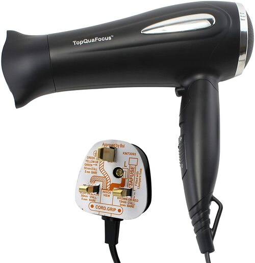 TopQuaFocus Powerful 2000W Folding Hair Dryer with Concentrator