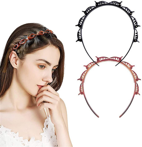 Double Bangs Hairstyle Headbands With Teeth - 2pcs
