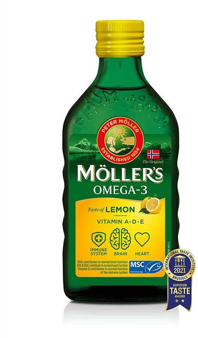 Mollers Omega 3 Taste of Lemon Vitamin A D and E Cod Liver Oil - 250 ml