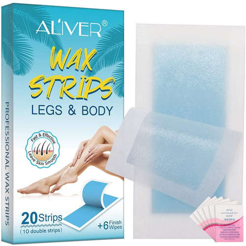 Aliver Legs and Body Hair Removal Cold Wax Strips - 20 Strips