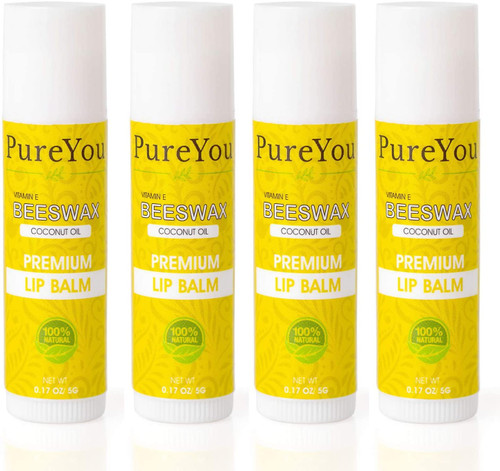 100 Percent Natural Lip Balm Set Soothes Dry Chapped Lips-Pack of 4