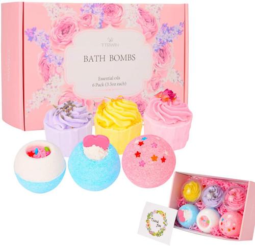TTRwin Essentials Oils Fizzy Bubble Bath Bombs Gift Set - 6pcs