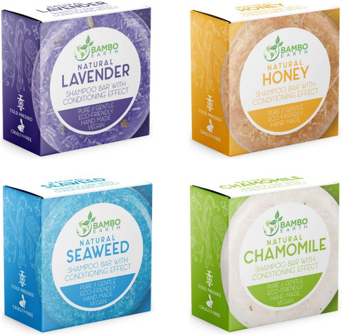 Bambo Earth Solid Shampoo Bar with Conditioning Effect -4 Pack