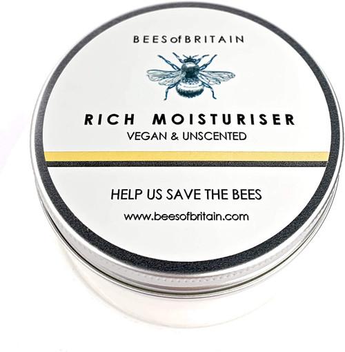 BEES of BRITAIN Vegan and Unscented Rich Moisturiser - 100g