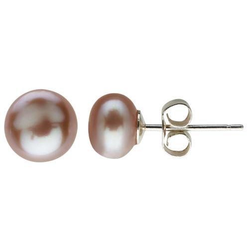 Claudia Bradby Pink Freshwater Pearl Button Stud Earrings-7mm