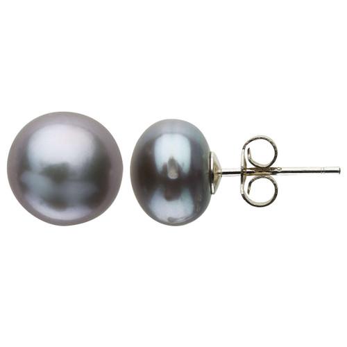 Claudia Bradby Silver Freshwater Pearl Button Stud Earrings-9-10mm