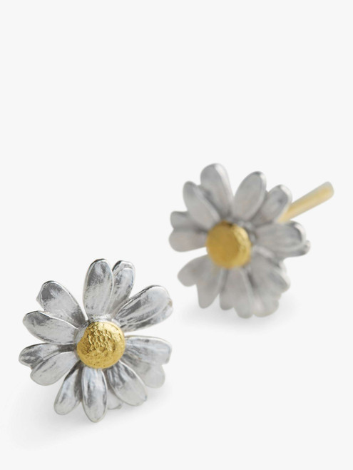 Alex Monroe Classic Silver and Gold Daisy Stud Earrings