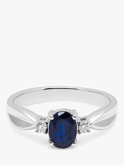 A B Davis 9ct Oval Sapphire and Diamond Shoulder Ring White Gold