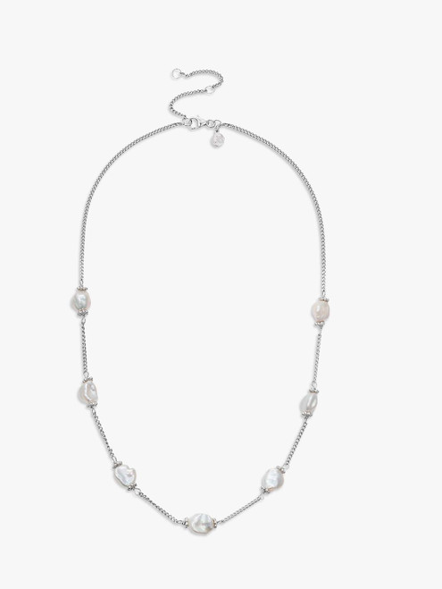 Claudia Bradby Keshi  Silver and White Pearl Chain Necklace
