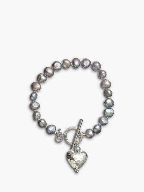 Claudia Bradby Purple Battered Heart Pearl Bracelet