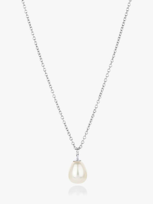 Claudia Bradby Silver/White Freshwater Pearl Pendant Necklace