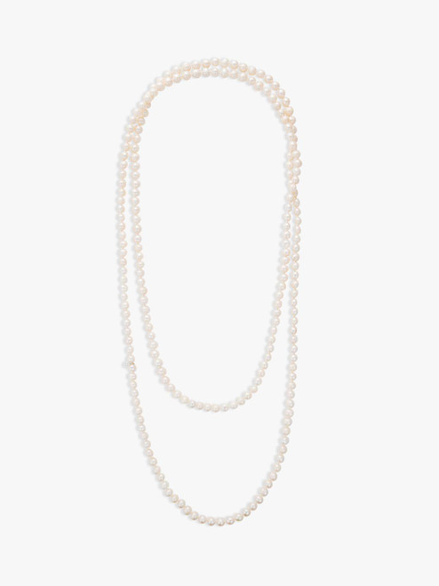 Claudia Bradby White Long Freshwater Pearl Rope Necklace