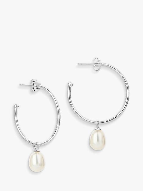 Claudia Bradby Silver Pearl Drop Hoop Earrings